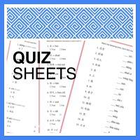 Quiz Sheets